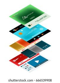 Vector web site page design development concept, isometric 3d semi flat style
