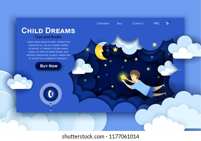 Vector web site paper art design template. Child touching the stars in the sky. Kids dream. Landing page illustration concepts for website and mobile development.