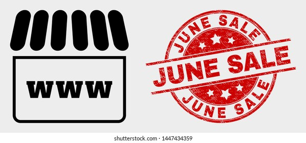 Vector webshop icon and June Sale seal stamp. Red round distress seal stamp with June Sale caption. Vector combination for webshop in flat style. Black isolated webshop pictogram.