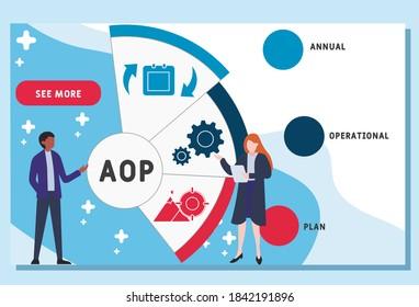 Vector website design template . AOP - Annual Operational Plan acronym, business concept.  illustration for website banner, marketing materials, business presentation, online advertising.