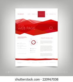 Vector website design template with bright red polygonal background