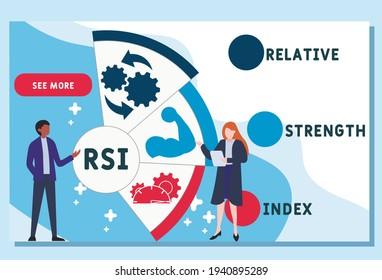 Vector website design template . RSI - Relative Strength Index      business concept background. illustration for website banner, marketing materials, business presentation