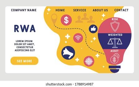 Vector website design template . RWA Risk Weighted Asset. business concept. illustration for website banner, marketing materials, business presentation, online advertising.