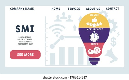 Vector website design template . SMI - Service Measurement Index acronym, business concept.   illustration for website banner, marketing materials, business presentation, online advertising.