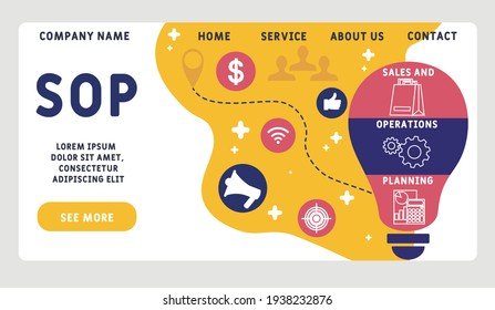 Vector website design template . SOP - Sales and Operations Planning business concept background. illustration for website banner, marketing materials, business presentation