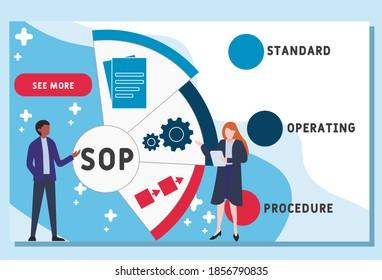 Vector website design template . Standard Operating Procedure - SOP. illustration for website banner, marketing materials, business presentation, online advertising.