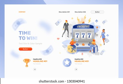 Vector website header template of tiny people caracters over casino slot machine with a jackpot 777 on a screen. Casino slot machine, gaming, and gambling concept.