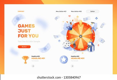 Vector website header template of tiny people caracters over a fortune wheel with chips, playing cards and dice. Gaming and gambling concept.