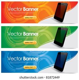 vector website headers, smart phone promotion banners