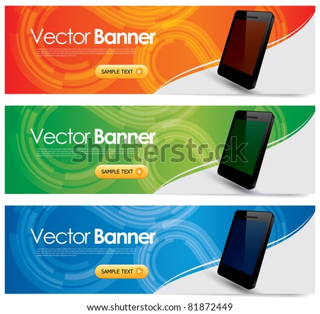 Vector Website Headers Smart Phone Promotion Stock Vector (Royalty ... 6941264a6