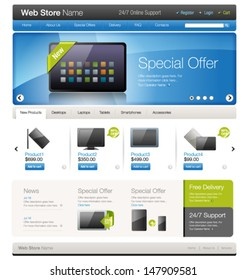 Vector website template 9: Online store