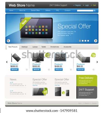 vector website template 9 online store stock vector royalty free