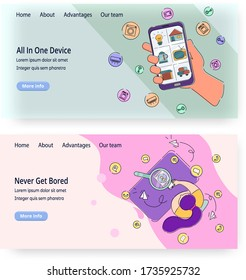 Vector website templates, landing page design for website and mobile site development. People using smartphone as Iot device, means of communication for instant messages, calls, email etc.