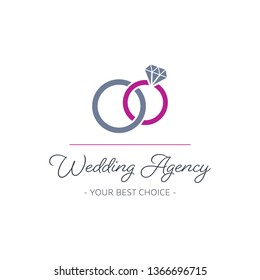 Vector wedding agency logo template design with rings