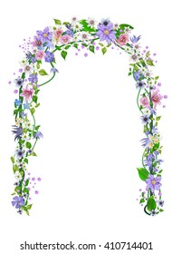 Vector wedding arch, arbor of flowers for design.anemones, primroses, freesia, lilies, daisy, clematis ,vector illustration Isolated on white background