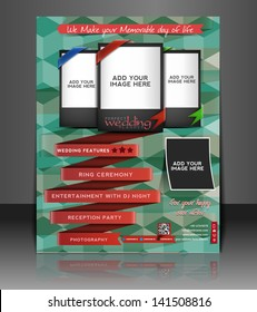 Vector wedding brochure, flyer, magazine cover & poster template