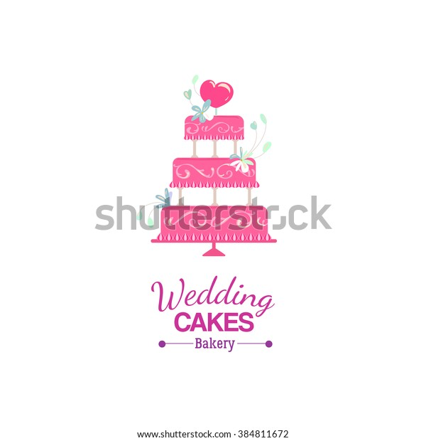 Vector wedding cake logo decorated heart and flowers, isolated on transparent background.