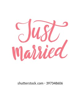 Vector Wedding Calligraphy Poster Just Married. The red lettering on the white background.