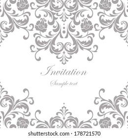 Vector wedding card or invitation with floral ornament background.