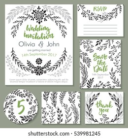 Vector wedding collection. Templates for invitation, thank you card, save the date, RSVP. Beautiful hand drawn floral ornaments, bouquets and wreathes in sketch style.