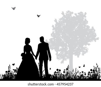 vector wedding couple silhouette groom and bride in nature,holding hands