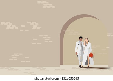 vector wedding couple standing on brown brick wall