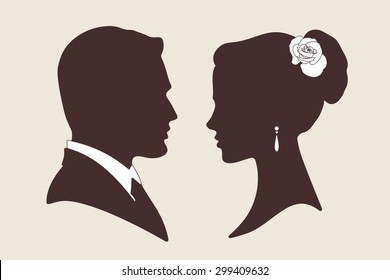 Vector wedding design silhouettes of groom and bride