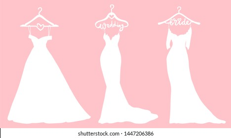 Vector Wedding dresses in Different styles. Beautiful Bride clothing for wedding day on a hanger. Elegant white Dress silhouette.