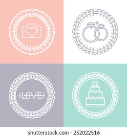 Vector wedding and engagement line logos and icons - linear design elements for invitations and greeting cards - circle badges