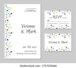 Vector wedding floral invitation. Rsvp card design set. Invitation card with floral summer pattern.