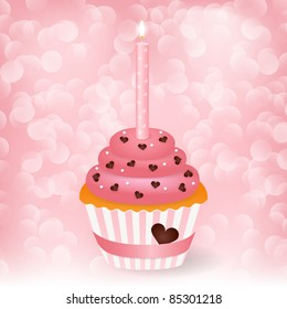 Vector wedding greeting card with cupcake
