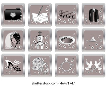 vector wedding icons - camera, vows, music, suit, hair and make-up, church, food, tiara, sandals, flowers, ring, doves