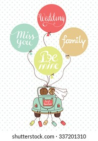 Vector wedding illustration with car, newlyweds and balloons! Can be used for wedding decoration