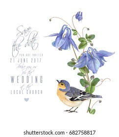 Vector wedding invitation card with elegant blue flowers and cute bird isolated on white background. Can be used as floral design for natural cosmetics, perfume, health care products, greeting cards
