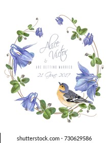 Vector wedding invitation card with elegant blue flowers wreath and cute bird isolated on white background. Can be used as floral design for cosmetics, perfume, health care products, greeting cards