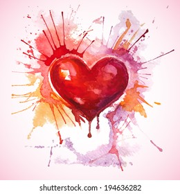 Vector wedding or invitation card with a hand-drawn painted red watercolor heart with orange and pink splashes