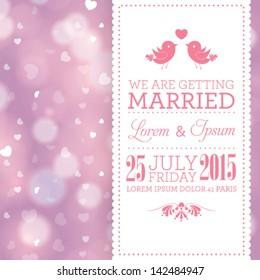 Vector wedding invitation card template. Perfect as invitation or announcement.