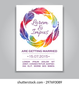 vector wedding invitation card template watercolor stock vector