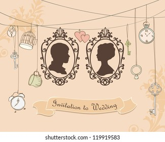 Vector Wedding Invitation Card. Vintage card