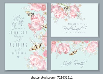 Vector wedding invitation cards set with pink tulip flowers and butterflies. Save the date, bridesmaid, name cards. Can be used as greeting card, floral design for cosmetic, perfume, beauty products