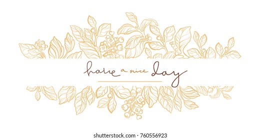 Vector wedding invitation with elegant mate branch, leaves, berries, flowers. Cute card with lettering. Floral art line frame. Simple template with golden design. Hand drawn illustration. Copy space