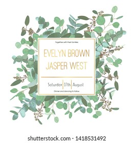 Vector wedding invitation flyer. Square gold frame with set branches and leaves eucalyptus gunnii, silver dollar, leucoxylon greenery. Сard design, editable and isolated
