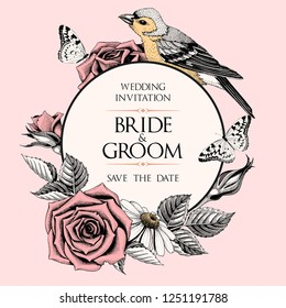 Vector wedding invitation with hand drawn roses