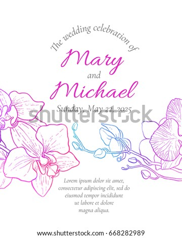 vector wedding invitation with orchid flowers