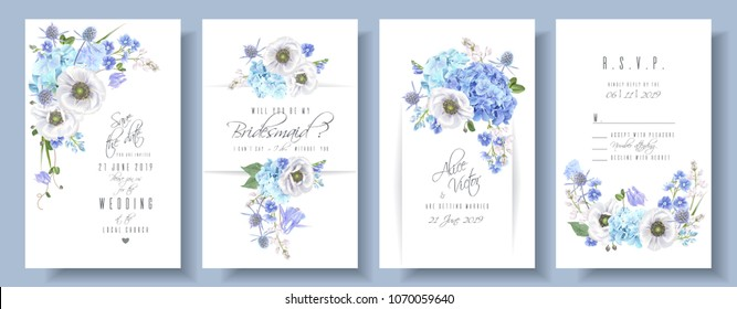 Vector wedding invitation set with blue hydrangea and anemone flowers on white. Romantic floral design. Can be used for natural cosmetics, perfume, women products, greeting cards, summer background