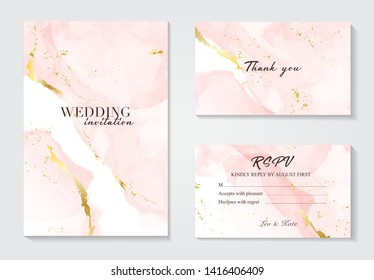 Vector wedding invitation set with liguid fluis background. Rose gold foil marble decoration luxury design.