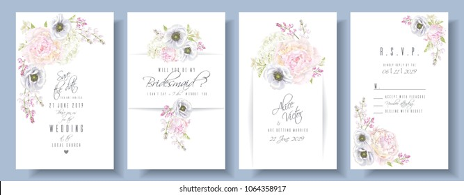 Vector wedding invitation set with peony, hydrangea and anemone flowers on white. Romantic floral design. Can be used for natural cosmetics, perfume, women products, greeting card, summer background