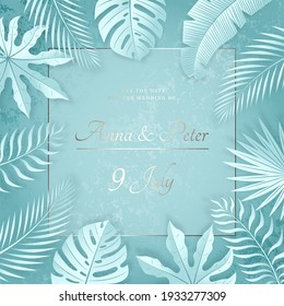 Vector Wedding Invitation with Shiny Text. Border of Mint Tropical Leaves. Textured Background. Bridal Pearlescent Banner.