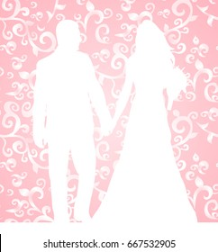 Vector, wedding invitation, silhouette of couple groom and bride, pink