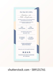 Vector Wedding Invitation Template. Modern Typography and Pastel Beige, Blue Colors. Classy Design Card with Soft Realistic Shadow. Isolated.